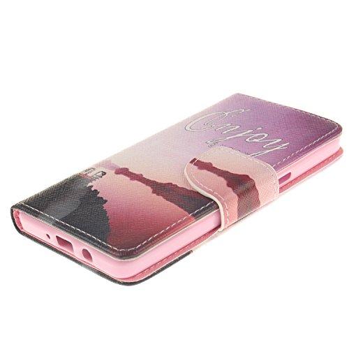 iPhone 5s Funda, PU Cuero Funda Folio Carcasa para iPhone 5s, iPhone 5 Funda Carcasa Resistente Protectora, iPhone 5s Leather Wallet Case Cover Skin Shell, Ukayfe Cubierta de la caja Funda protectora  paisaje costero
