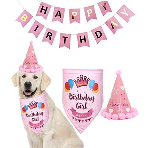 Yosbabe Dog Birthday Decorations Kit Dog Birthday Bandana Pet Scarfs Dog Birthday Party Cone Hat Cute Doggie Birthday Banners Great Dog Birthday Outfit and Decoration Set for Dog Puppy