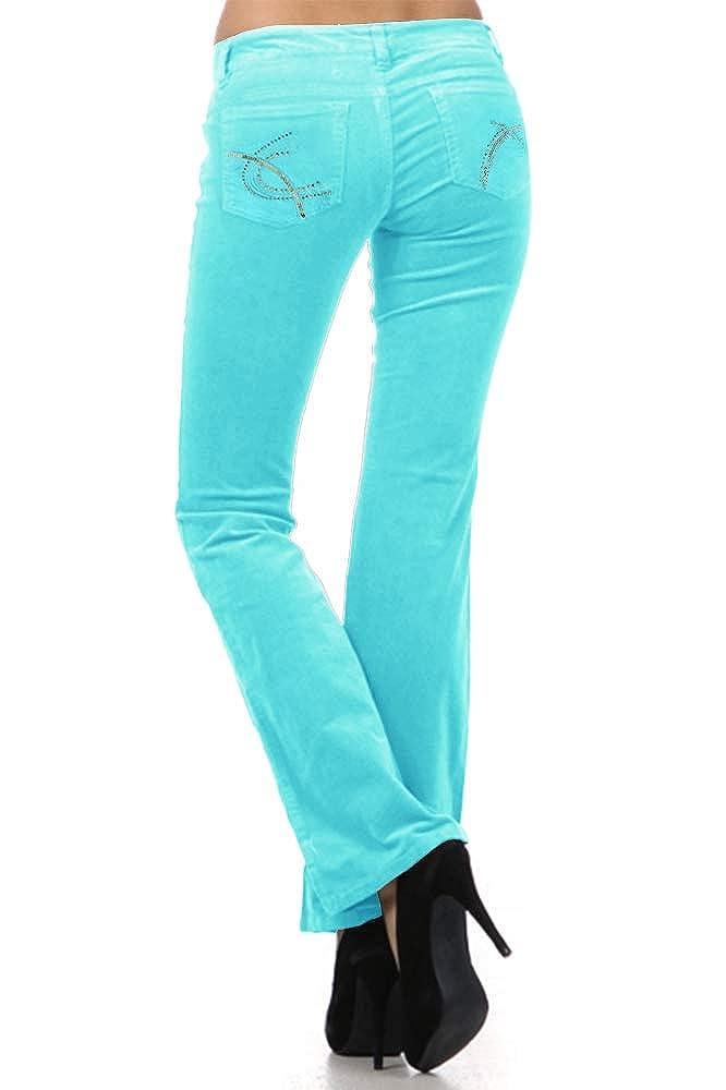Aqua Sequin Pockets Silver Limit 33 Juniors Teen Small Medium Large XL Corduroy Pants Low Rise Boot Cut School Work