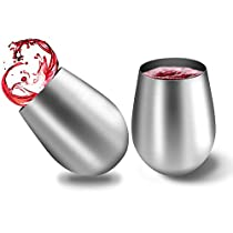 Stainless Steel Stemless Wine Glasses Set of 2 20oz Shatterproof Reusable Elegant and BPA Free for Outdoor Camping Travel or Nautical Use