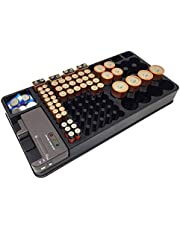 TOOGOO Battery Storage Organizer Holder with Tester - Battery Caddy Rack Case Bo Holders Including Battery Checker for AA A C D 9V nd Small Watch Batteries