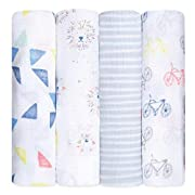 aden + anais Swaddle Baby Blanket, 100% Cotton Muslin, Large 47 X 47 inch, 4-pack, leader of the pack