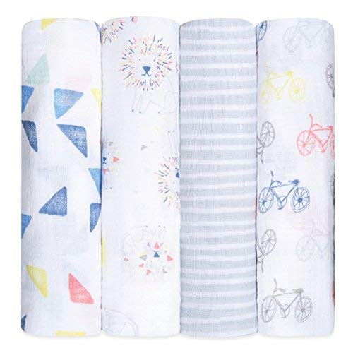 aden + anais Swaddle Blanket, Boutique Muslin Blankets for Girls & Boys, Baby Receiving Swaddles, Ideal Newborn & Infant Swaddling Set, Perfect Shower Gifts, 4 Pack, Leader of The Pack