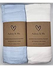 Aubrey & Me Muslin Baby Swaddle Blankets, Blue/White Solid Color Baby Swaddling for Boys & Girls, 70% Bamboo & 30% Cotton, Lightweight, Breathable, Large 47 x 47 inches