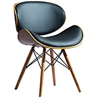 "Sirio 18.5"" Indoor Wooden Barstool Modern Black PU Leather Cushion Furniture Kitchen Chairs"
