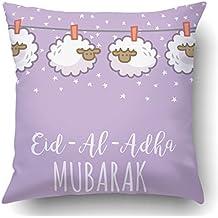 Soksar Throw Pillow Cover Cute Eid Al Adha Greeting With Hanging Sheep Decorati Kartu Ucapan Home Sofa Decor Square 18x18 Inch Zipper Cushion Decorative Print Pillowcase Design Two Side