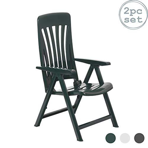 resol Blanes multifuncion Plegable-posicion Garden sillon - de plastico Verde - Unidades 2 sillas