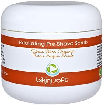 BIKINI SOFT Organic Sugar Citrus Bliss Pre-Shave Body Scrub (4 Oz) – Promotes Glowing Radiant Skin- for Your Smoothest Shave Ever – DEEP Cleansing EXFOLIATOR, Moisturizes, Nourishes & Tones