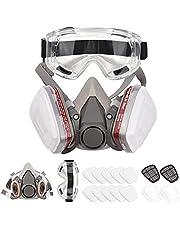Tomshin Respirador reutilizável meia máscara de gás máscara de gás 6200 Proteção respiratória Respiradores com óculos de segurança para pintura soldagem a vapor orgânico polimento carpintaria e outras proteções de trabalho