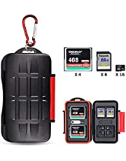 Kiorafoto 28 Slots Professional SD CF MSD Memory Card Holder Storage Case Protector Wallet for 4 CF & 8 SD & 16 Micro SD Cards, with Carabiner + Card Tray Removal Eject Pin Key