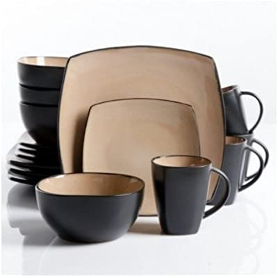 Click for Square Dinnerware Service for 8, Plates Bowls Mugs, 32-Piece Set, Modern Taupe & Black by Gibson Home