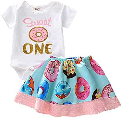 SNOWSONG Toddler Kids Baby Girls Letter T-Shirt Tops Lovely Bowknot Skirts Headband Outfits 3PCS Clothes