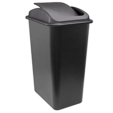 United Solutions WB0236 41-Quart Slim Fit Wastebasket with Swing Top Lid, 10.25 Gallon, Black