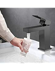 LionRoar Black Bathroom Faucet, Stainless Steel Bathroom Mixer Tap, Single One Handle Matte Black Finish Basin Lavatory Vessel Sink Faucet with Hot and Cold Water Spout