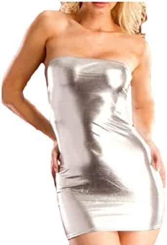 83494fa6684 WSPLYSPJY Women s Gothic Hot Sleeveless Dress Metallic Wetlook Clubwear  Stripper