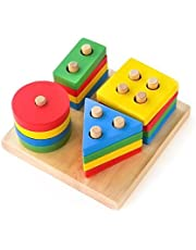 Boxiki kids Toy Stacking Toys Sorting Board | Geometric Shape Stacker | Eco-Friendly and Non-Toxic Wooden Toy | Early Childhoo