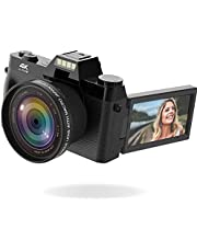 $129 » Vlogging Camera, 4K Digital Camera for YouTube with WiFi, 16X Digital Zoom, 180 Degree Flip Screen, Wide Angle Lens, Macro Lens, 2 Batteries and 32GB TF Card