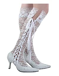 Minitoo Womens Pointy Toe High Heel Bride Wedding Lace Shoes Knee-high Boots