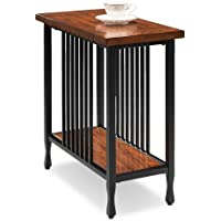 Home Matte Black Slatted Metal Base Condo/ Apartment Burnished Mission Oak Narrow Chairside Table