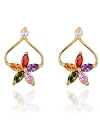 Women White/Colorful Flower Copper Gold Plated Ear Studs Cute Crystal Earrings Boucles D'oreilles