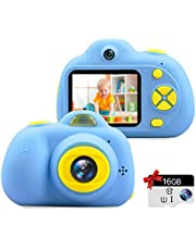 "Kids Camera Gifts for 3-9 Year Old Girls,1080P HD Mini Rechargeable Children Shockproof Digital Front and Rear Selfie Camera Child Camcorder Waterproof 2.0"" LCD Screen"
