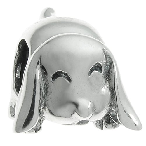 Sterling Silver Long Ear Smile Dog European Style Bead Charm