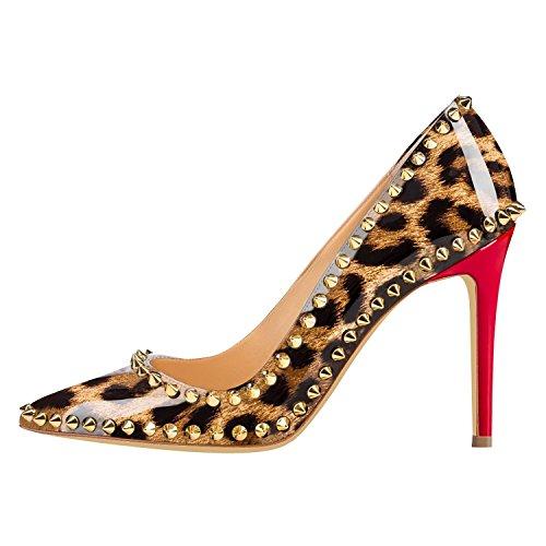 Arc-en-ciel zapatos de las mujeres del leopardo del cuero de patente del remache zapato de tacón alto de color rojo Leopard