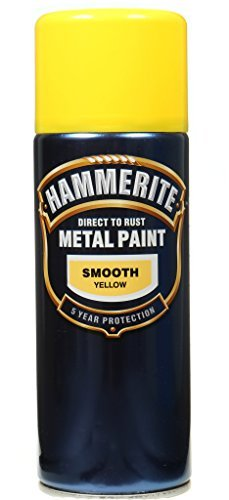 Hammerite Aerosol (Hammerite Metal Paint Smooth Yellow 400ml Aerosol by Hammerite)