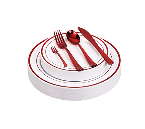 125pcs Disposable Plastic Plates and Cutlery Set/Party Tableware - Including 25 Red Trim Dinner Plates, 25 Salad or Dessert Plates & 25 Polished Red Forks Knives & Spoons - Bonus 25 Dessert Forks