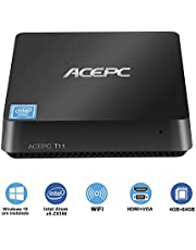 ACEPC T11 Mini PC / Windows 10 Home Intel Atom x5-Z8350 [4 GB / 32 GB] Intel Grafica HD WiFi 4K Bluetooth 4.2 HDMI + VGA Computer Desktop Intel Fanless
