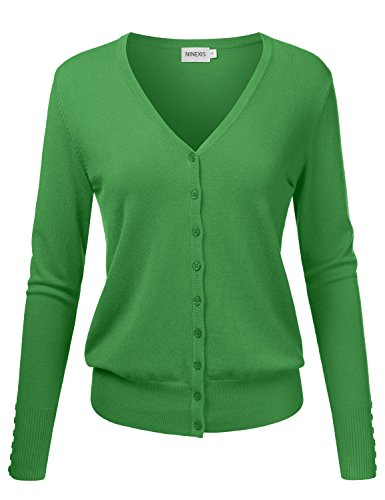 NINEXIS Womens Basic Long Sleeve V-Neck Button Down Knit Cardigan Sweater
