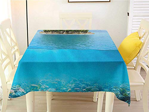 Square Tablecloth Paper Tropical Lonely Small Island on The Ocean with a Lush Jungle Exotic Flora and Fauna Aqua Forest Green Stain 54 x 54 Inch