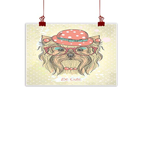 Home Wall Decorations Art Decor Yorkie,Be Cute Portrait of an Adorable Dog with Earrings Necklace Glasses Hat Makeup,Light Brown Coral 28