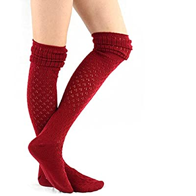 TeeHee Women's Fashion Over the Knee High Socks - 4 Pair Combo (Lace Over) at Women's Clothing store
