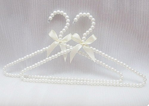 Bueer 10 Pack Pearl Beads Metal Elegant Clothes Hangers Standard Hangers (White)