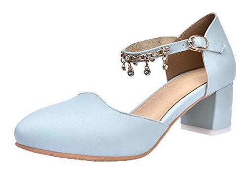 Clair Sandales Unie PU d'orteil Correct Couleur Bleu Fermeture Femme à Talon AgooLar Cuir Twp4p7