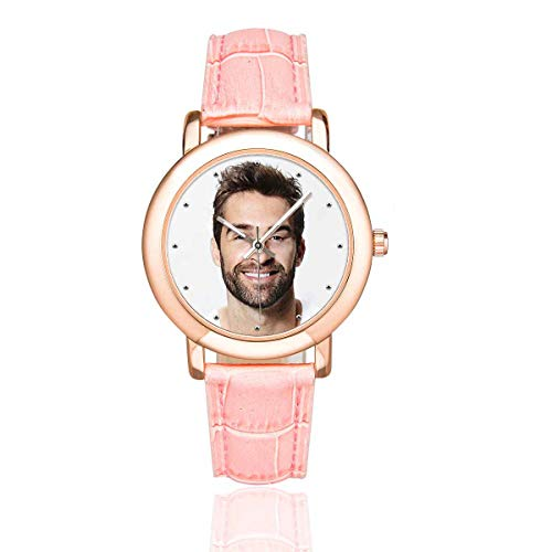 (Personalized Graphic Photo Face Watch Rose Gold-Plated Pink Leather Strap Watches for Women/Your Girlfriend/Wife)