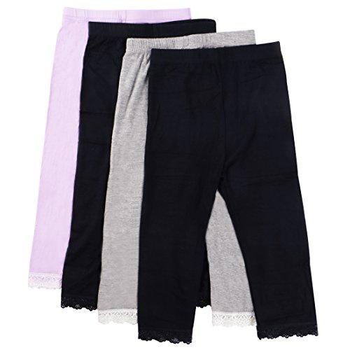 MyKazoe Girls Ultra Soft Seamless Capri Leggings With Lace Trim (Set of 4) (4T/5T, Basics (Black x 2, Grey, Lavender))