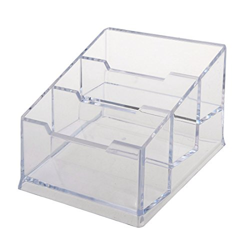 SODIAL(R) Plastic 3-Tier Design Clear Business Card Stand Holder