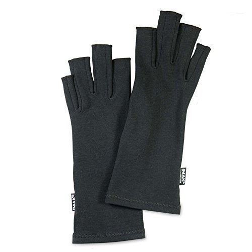 IMAK - Compression Arthritis Gloves for Pain and Stiffness of Hands, One Pair of 2 Gloves - Black, Medium