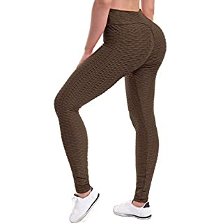 Beyondfab Women's High Waist Textured Butt Lifting Slimming Workout Leggings Tights Mocha 2XL3XL