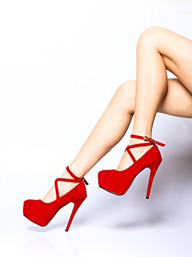 Ankle Women Platform Strap 11 Pump Red Party Stiletto Dress Heel ddwrS4q