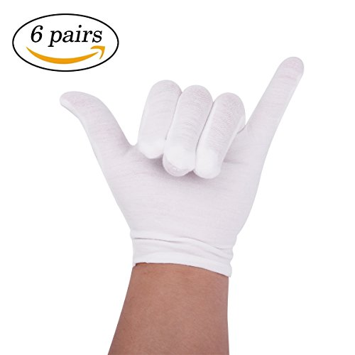 6 Pairs White Cotton Gloves for Cosmetic Moisturizing Coin Jewelry Inspection 22 Cm