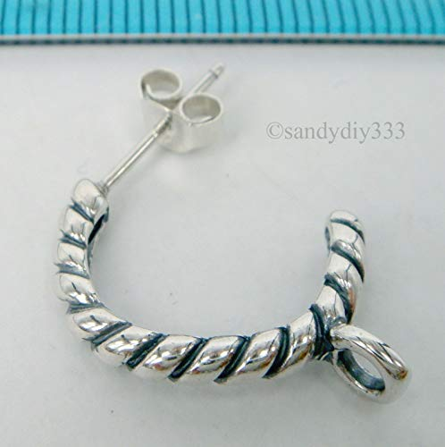 (FidgetFidget 2X Sterling Silver Twist Rope Hoop Stud Post Earrings #1857)