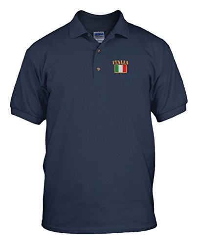 Italia Flag Embroidery Embroidered Golf Polo Shirt Navy Large