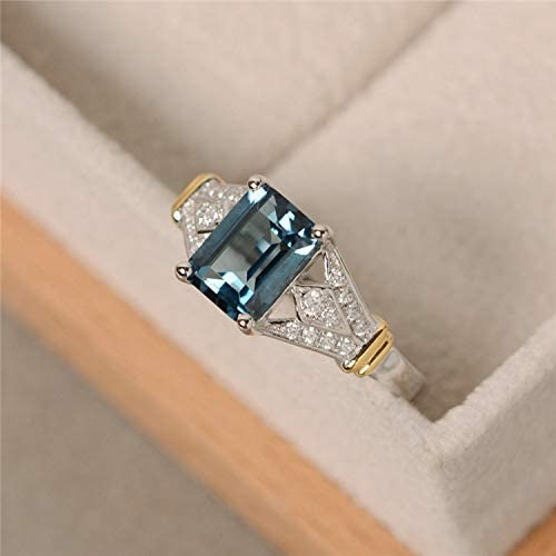 Metmejiao 18K Rose Gold Plated CZ Crystal Square Simulated Diamond Engagement Ring Promise Rings for Women 10