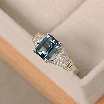 Amazon.com: Metmejiao - Anillo de boda con piedra preciosa ...