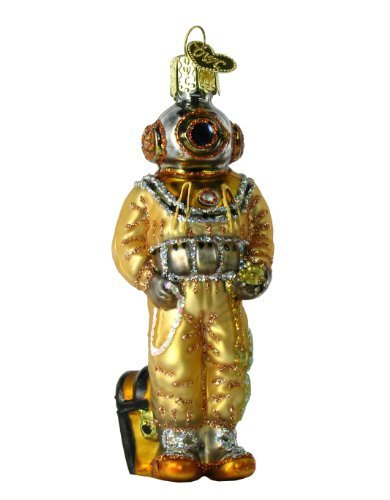Navy Deep Sea Diver - Old World Christmas Deep Sea Diver Glass Blown Ornament