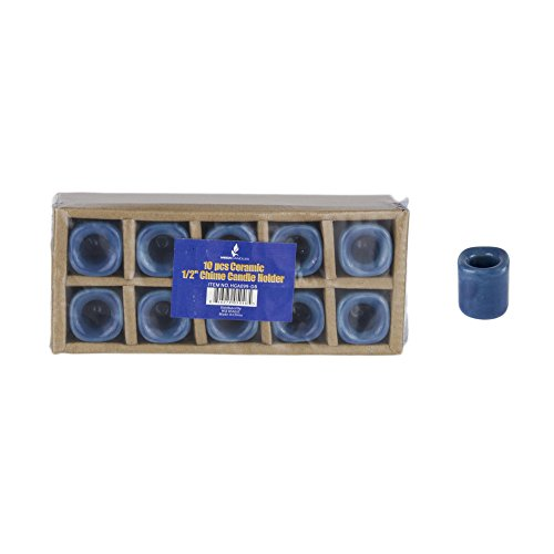 Mega Candles 10 pcs Dark Blue Ceramic Chime Ritual Spell Candle Holders, Great for Casting Chimes, Rituals, Spells, Vigil, Witchcraft, Wiccan Supplies & More