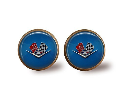 - Vintage Corvette Stud Earrings- bronze